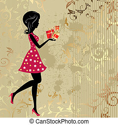 The girl with presents on a gold background citizens