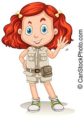 The Girl with Red Hair in Safari Suit
