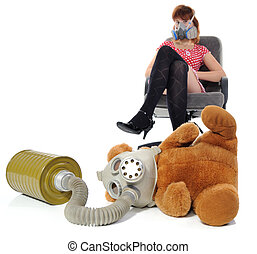 The girl with respirator and soft toy