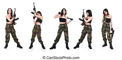 The girl with rifle AK