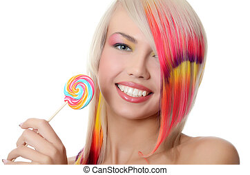 The girl with sugar candy isolated