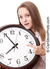The girl with the clock
