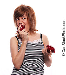 the girl with two apple