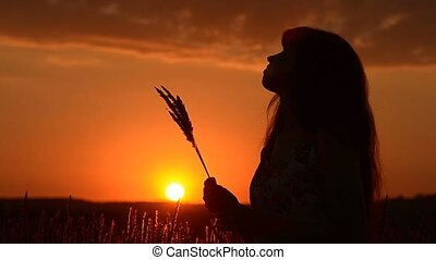 The girl with wheat on a sunset