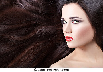 The girl's face and hair.