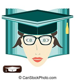 The girl's face with glasses and a graduate cap on the background of an open book. Teacher, graduate school, character education.