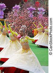 The girls in beautiful costumes - SHENZHEN, CHINA-JANUARY...