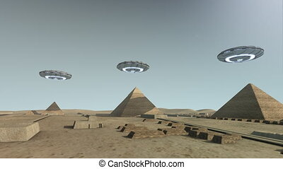 The Giza platform Egypt with some UFOs