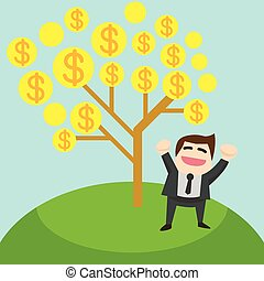 The glad businessman is standing under the tree of money. Business concept cartoon illustration
