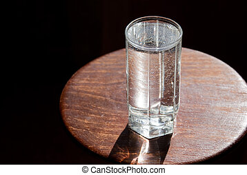 The glass filled with water