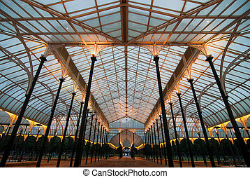 The glass house in Lal Bagh, the famous garden in Bangalore, India