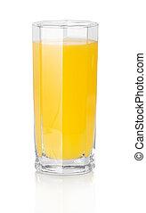 The glass of orange juice