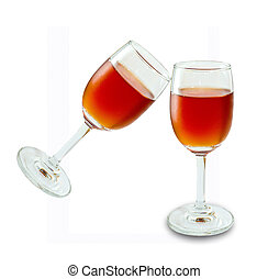 The Glass of wine isolated on white background