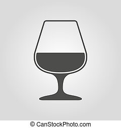 The glass with brandy icon. Brandy symbol. Flat Vector...