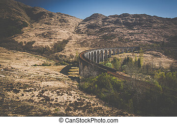 The Glenfinnan railway viaduct in the Western Highlands of Scotland