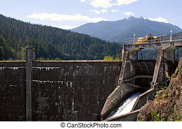 The Glines Canyon Dam, Elwha River, in the Olympic National Park, Washington State. The old hydroelectric dam is scheduled to be removed in 2011.