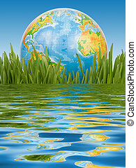 The globe in a green grass.