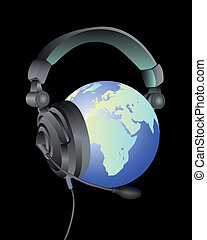 the globe in the headphones