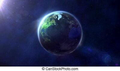 The globe is illuminated by half