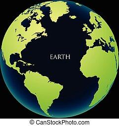 The globe on a black background