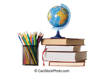 The globe on books isolated on a white background