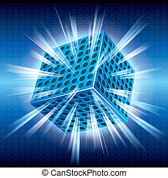 The glowing cube, the background is blue.
