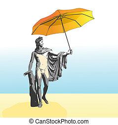 The god Apollo with umbrella