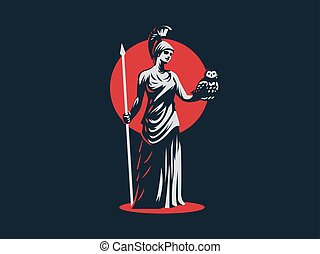 The goddess Athena. - The goddess Athena holds an owl and a...