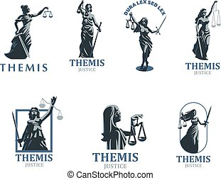 The goddess of justice Themis. Set. Vector.