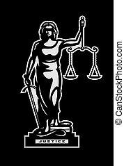 The goddess of justice Themis symbol, logo on a dark background. Vector illustration.