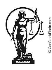 The goddess of justice Themis symbol, logo. Vector illustration.