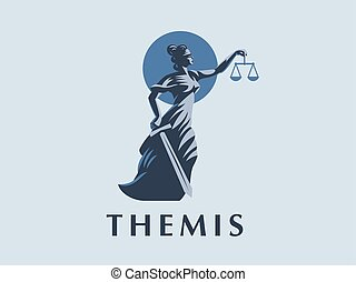 The goddess Themis with a sword of justice and weights in her hands