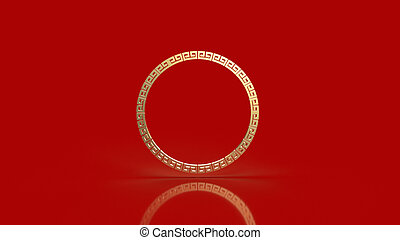The gold border chinese on red background 3d rendering.
