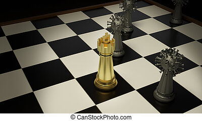 The gold chess and virus on boardgames 3d rendering for ...
