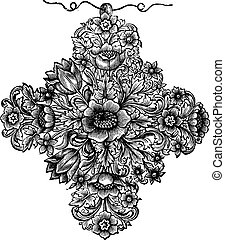 Old engraved illustration of the gold cross of the seventeenth century french work, isolated on a white background. Industrial encyclopedia E.-O. Lami - 1875.