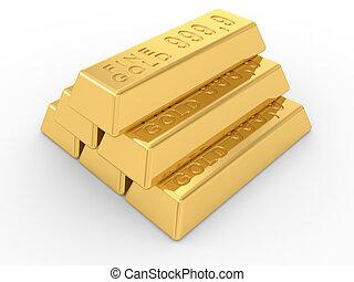 gold ingots  - the gold ingots on a white background