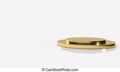 gold Podium platform on white background 3d rendering.