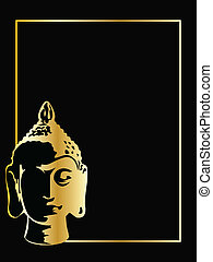 the gold vector buddha on black background