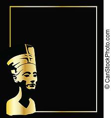 the gold vector head of Nefertiti