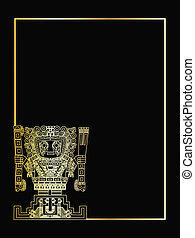 the gold vector mayan and inca tribal symbols