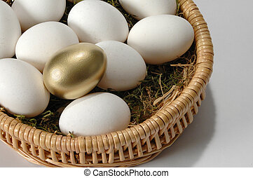 The Golden Egg - Golden egg among white eggs