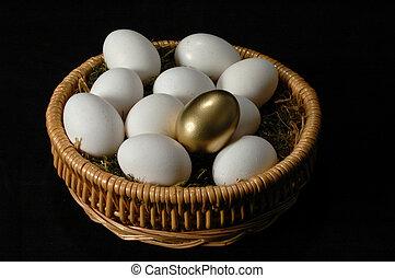 The Golden Egg among white eggs