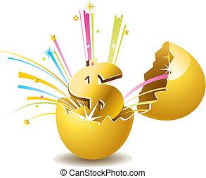 the golden egg vector background
