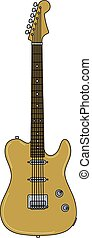 The golden electric guitar