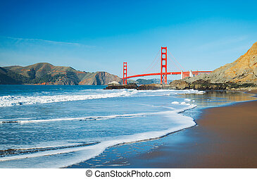 The Golden Gate Bridge in San Francisco with beautiful blue...