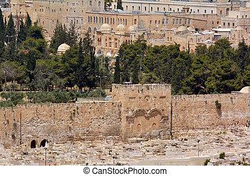 The Golden Gate in Jerusalem Old City Walls - Israel - The...