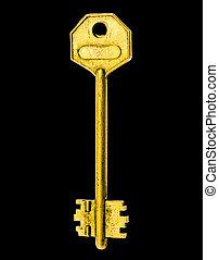 The Golden Key Over Black Background