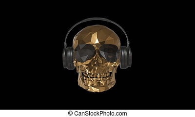 The golden low poly skull DJ with alpha channel