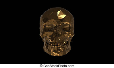 The golden low poly skull with alpha channel
