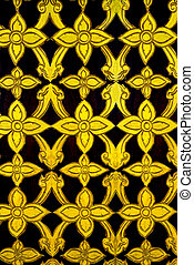 The Golden pattern on wood of thai style